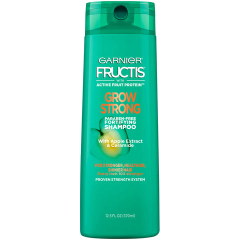 Garnier Fructis Grow Strong Shampoo, For Stronger, Healthier, Shinier Hair, 12.5 fl. oz.