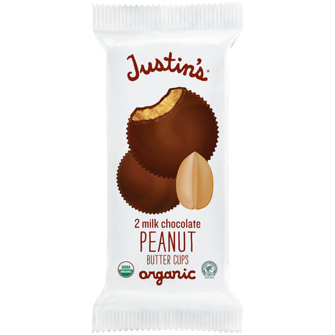 Justin's Organic Cups 1.4 Oz -- Milk Chocolate Chocolate Peanut Butter Cups - Earth's Basket