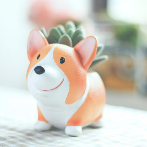 corgi-flower-pot