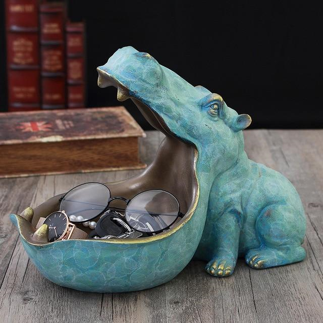 Large Handmade Hippo Key Bowl