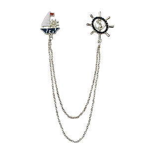 Ship Anchor Wheel Double Chain Brooch
