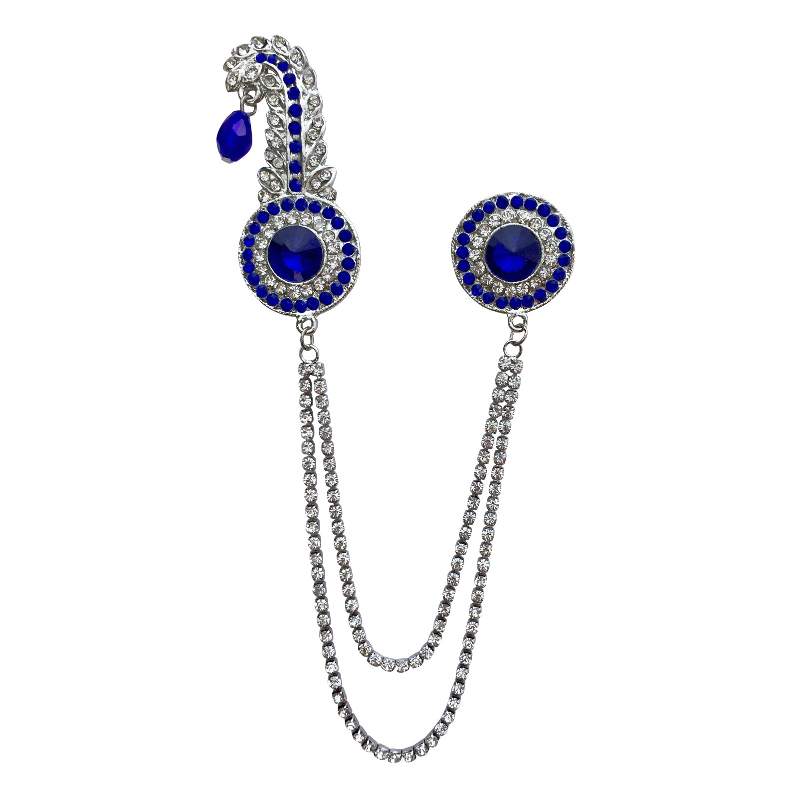 Double Chain Round Kilangi Brooch (Blue)