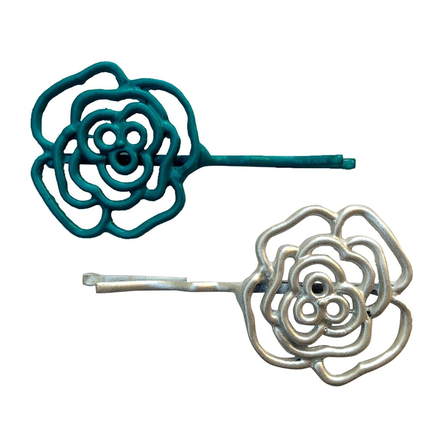 Blue & White Grill Flower Bobby Pin
