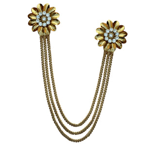 Double Metal Flower Chain Brooch (Bronze)