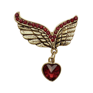Winged Heart Brooch (Maroon)