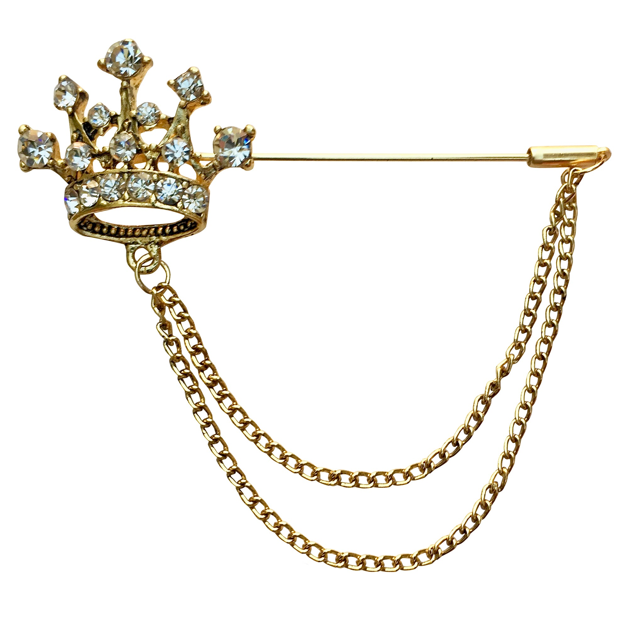 Crown with Double Chain Lapel Pin (Golden)