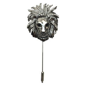 Lion Lapel Pin (Rhodium)