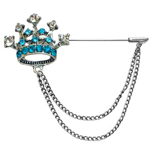 Crown with Double Chain Lapel Pin (Blue)