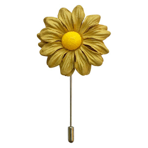 Marigold Flower Lapel Pin (Mustard Colour)