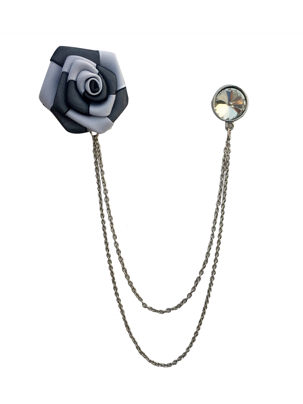Double Chain Flower Solitaire Brooch (Rhodium)