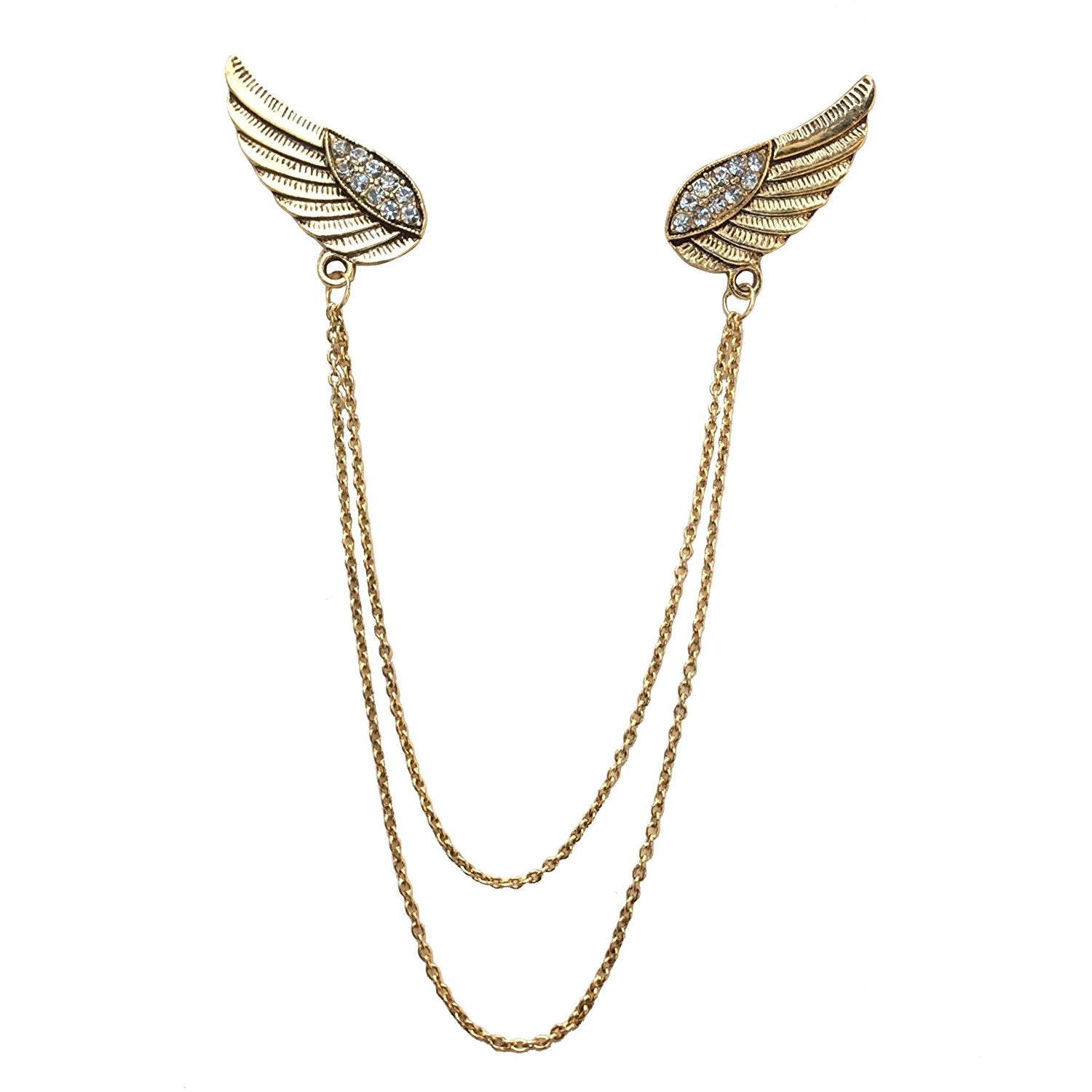 Double Wing Double Chain Brooch (Antique Golden)