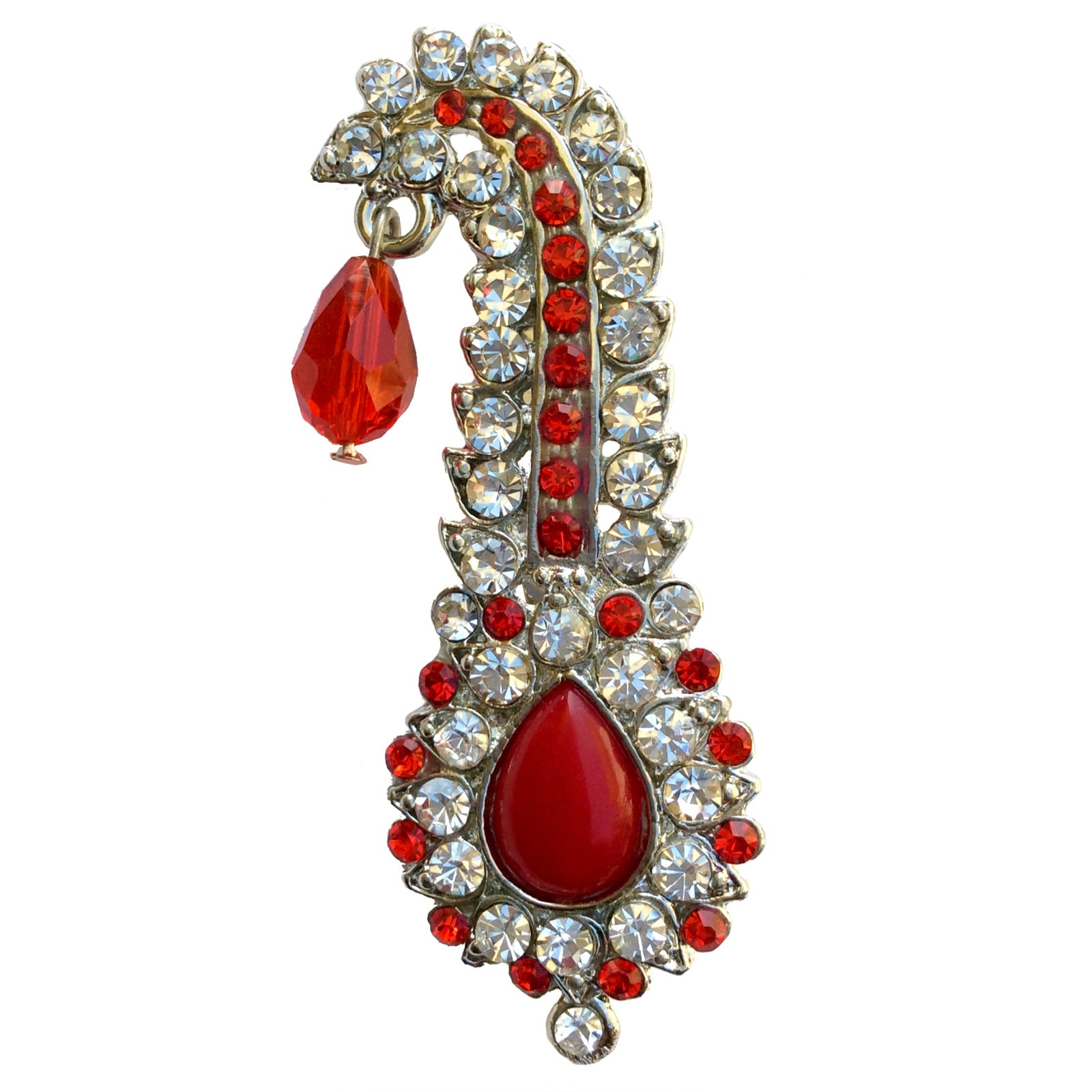 Red Drop Bead Kilangi Brooch