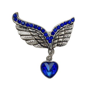 Winged Heart Brooch (Blue)