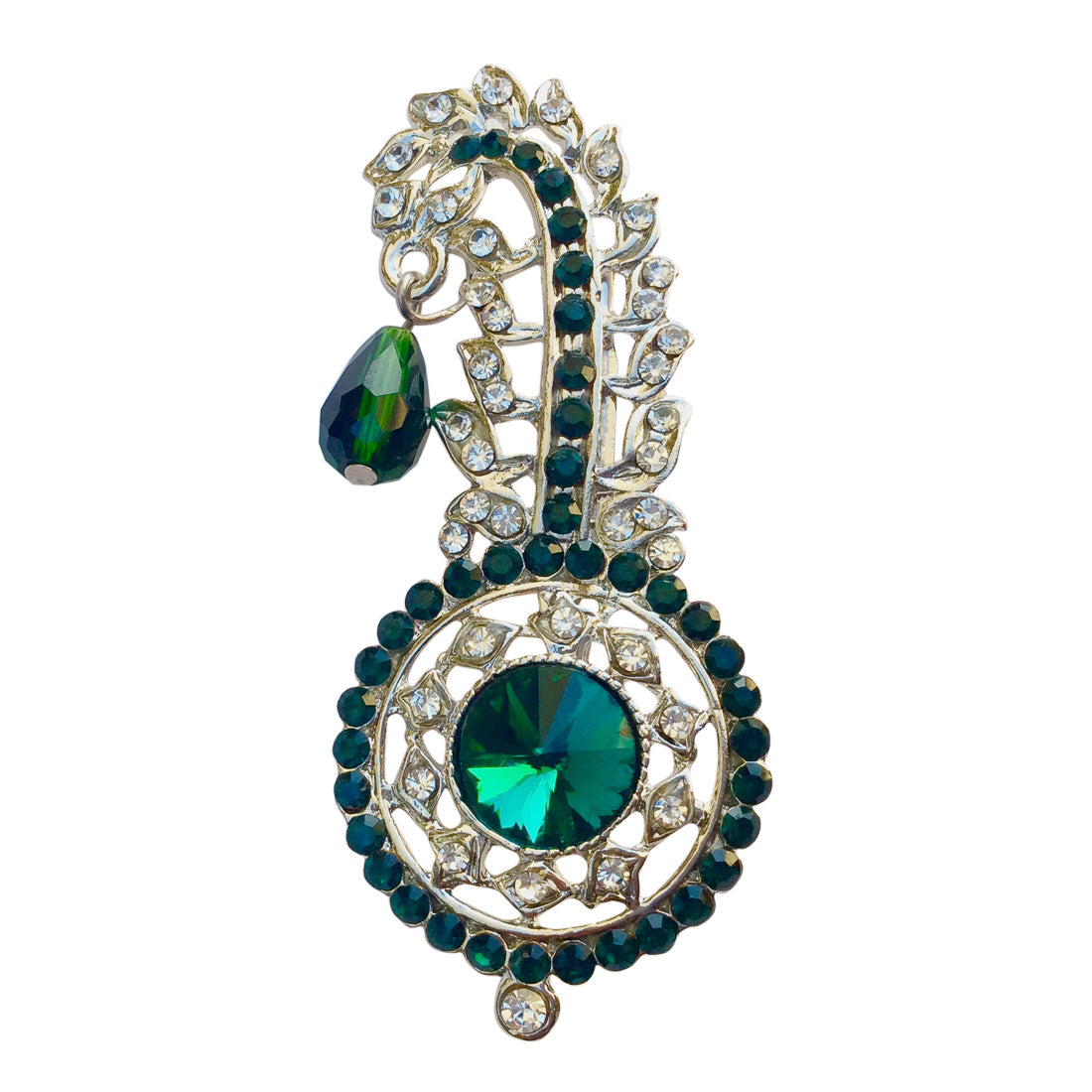 Green Round Glass Kilangi Brooch
