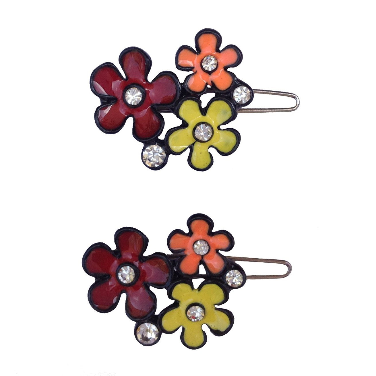 Three Flower Multi Colour Wireclasp
