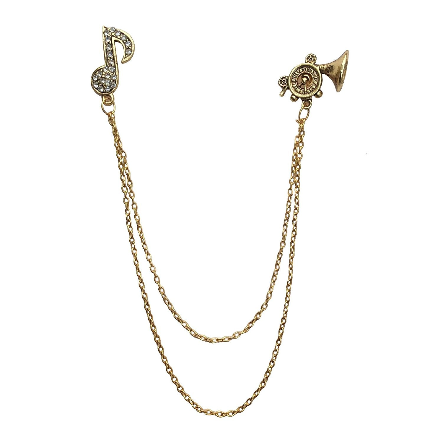 Double Chain Trumpet Brooch