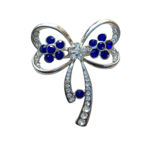 Floral Bow Brooch (Blue)