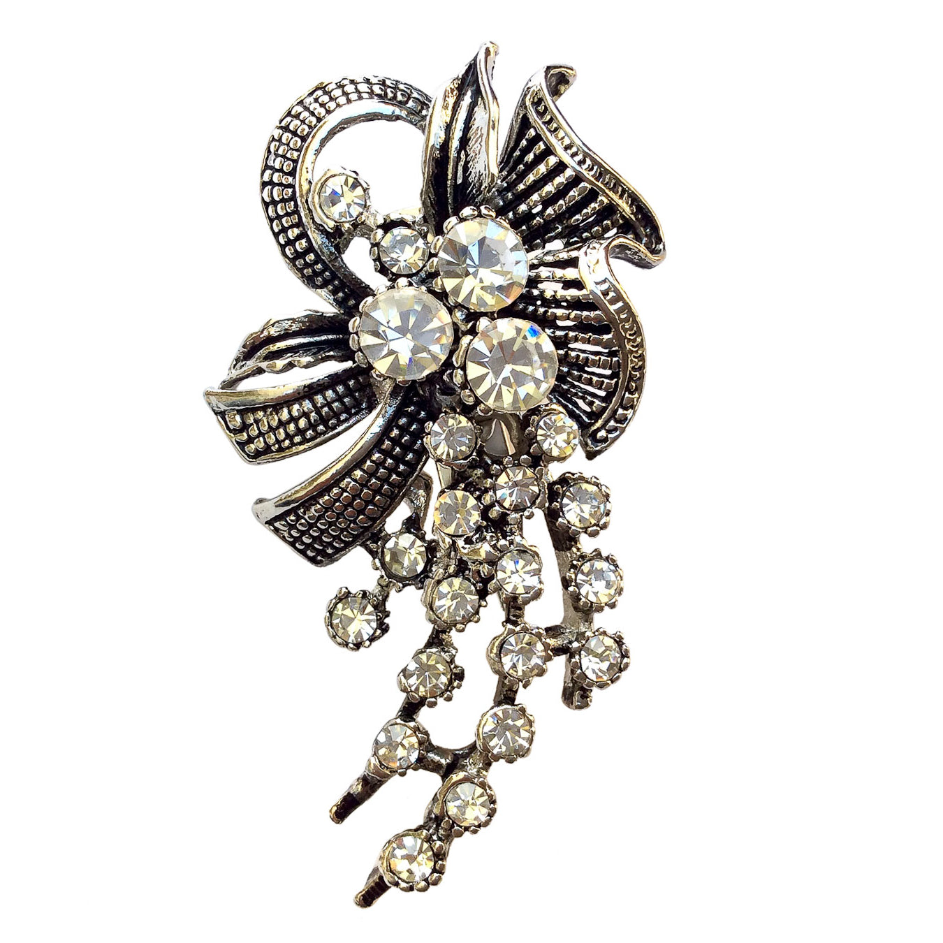 Ribboned Rhinestone Brooch