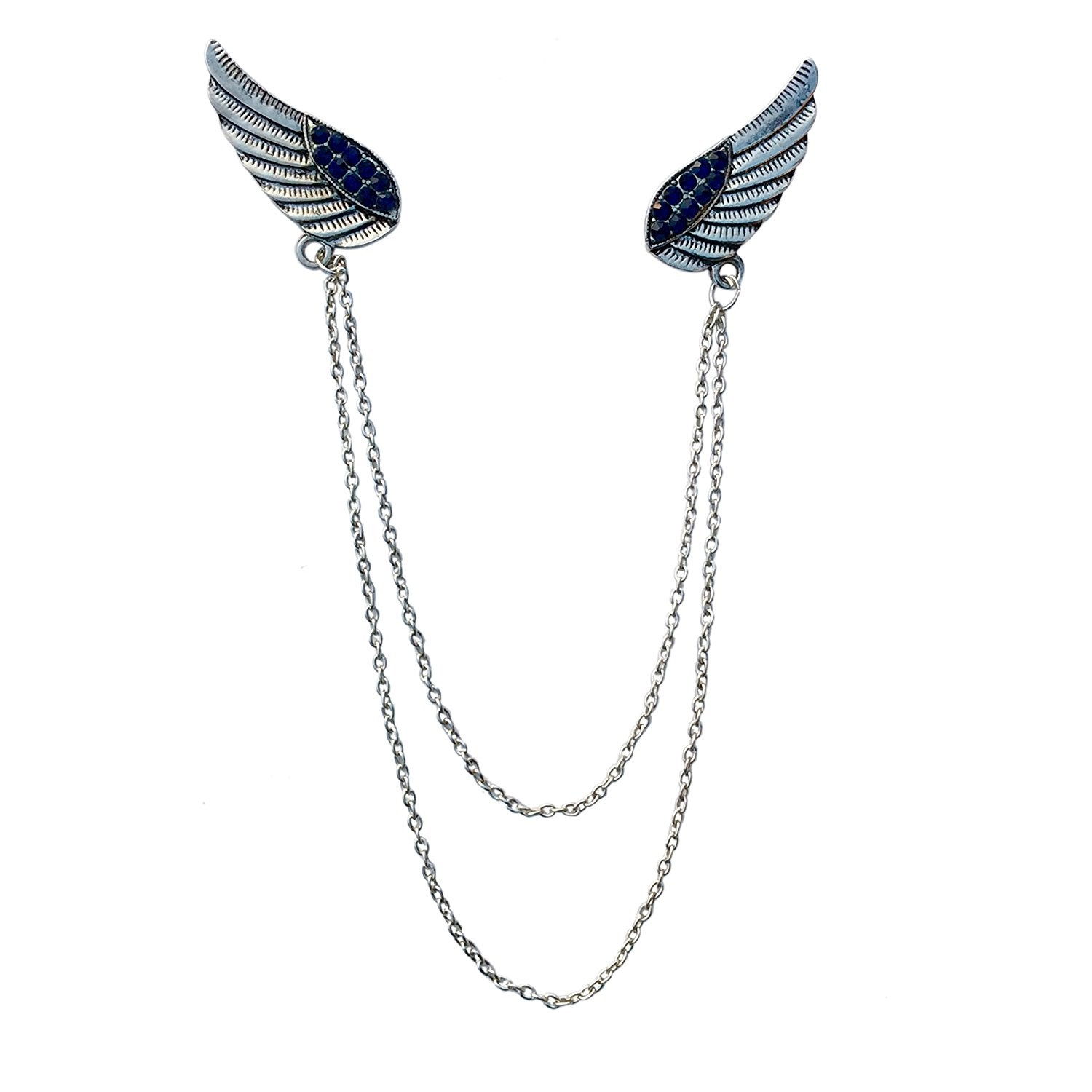 Double Wing Double Chain Brooch (Antique Rhodium)