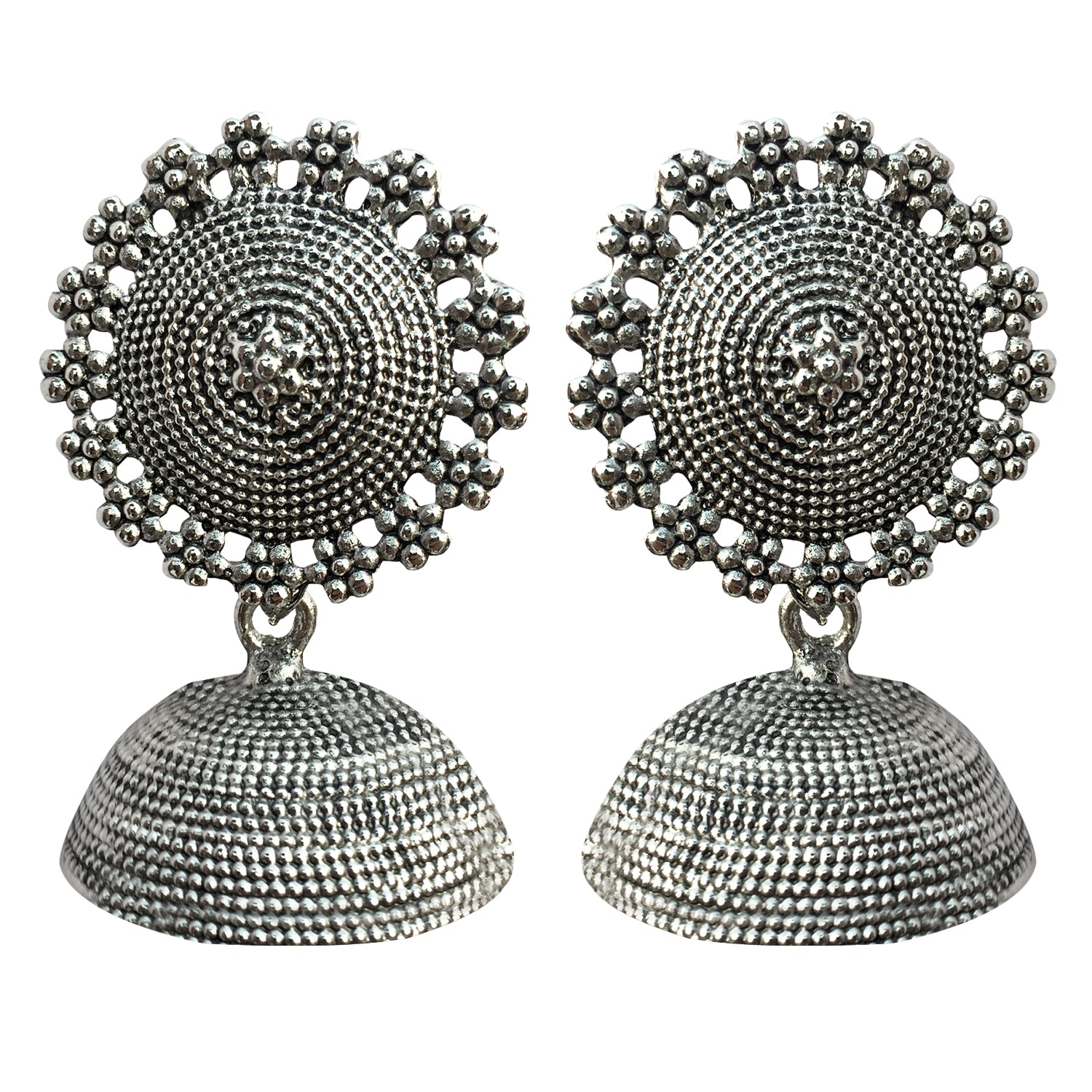 Ornamental Floral Oxidised Rhodium Jhumki Earrings