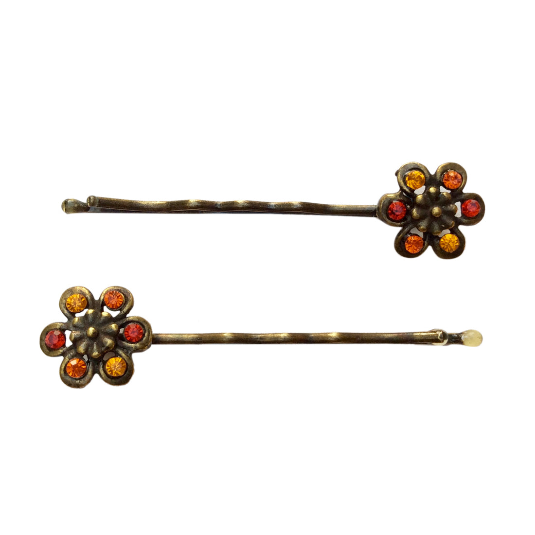 Fiery Flower Bobby Pin (Antique Bronze)