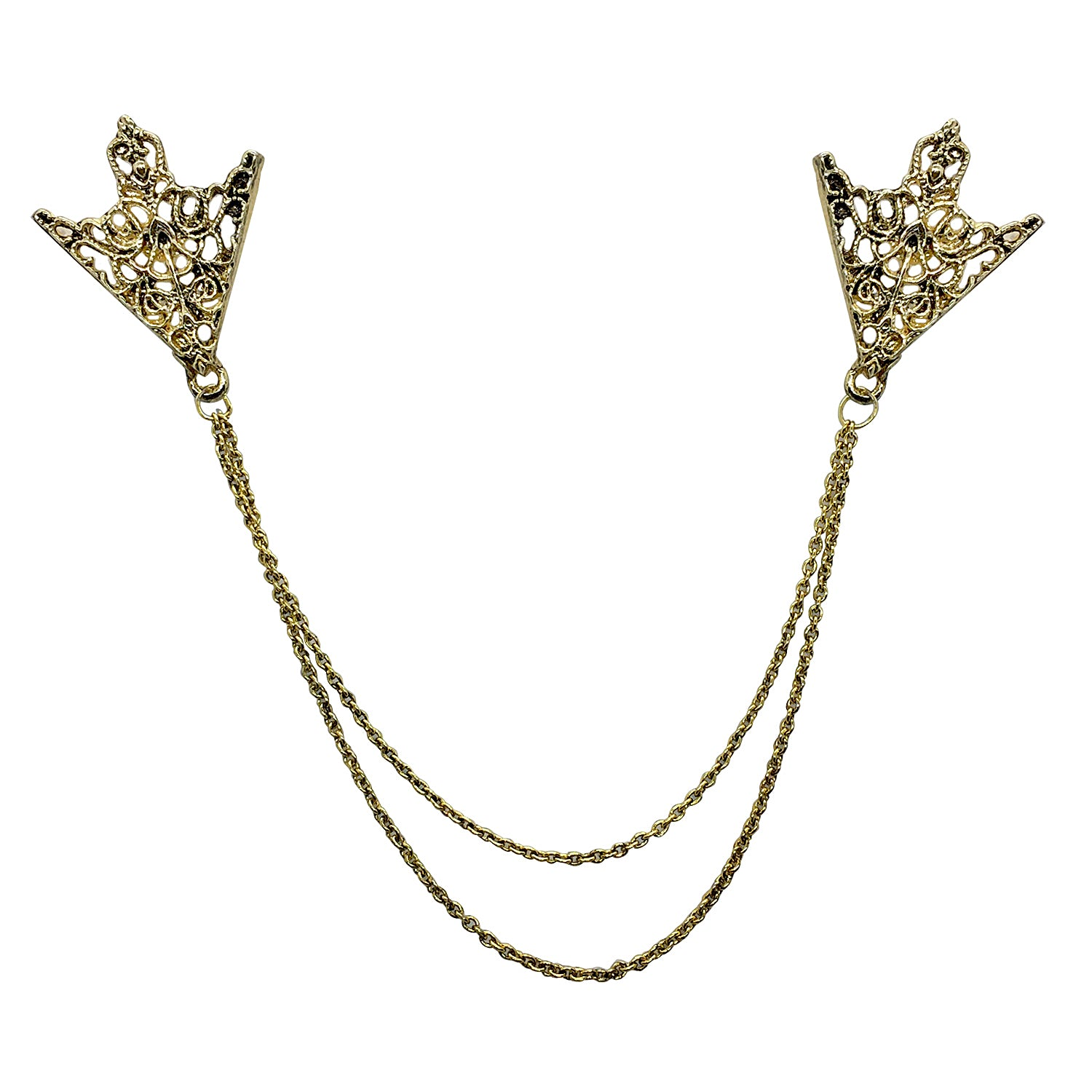 Double Chain Metal Grill Triangular Collar Pins (Antic Golden)