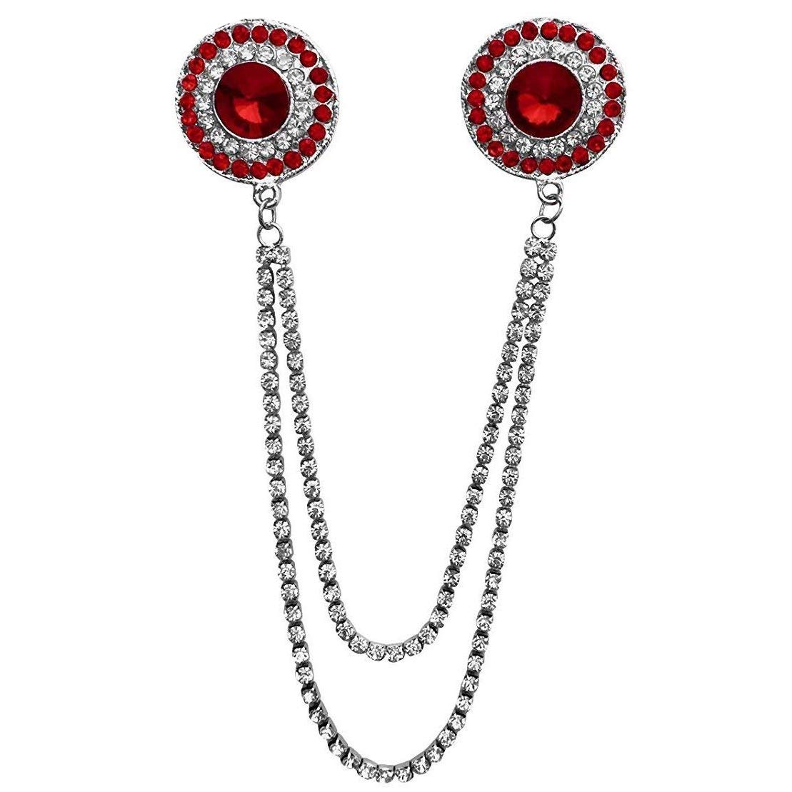 Double Round Chain Brooch (Red)