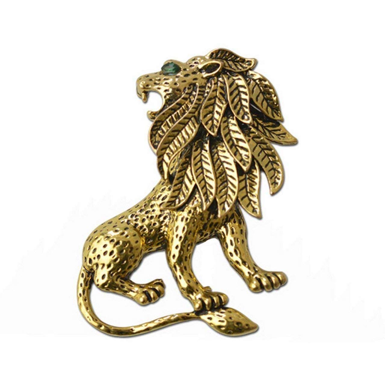 Roaring Lion Brooch (Antic Golden)