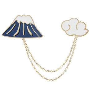 Mountain and Cloud Enamel Pins with Chain