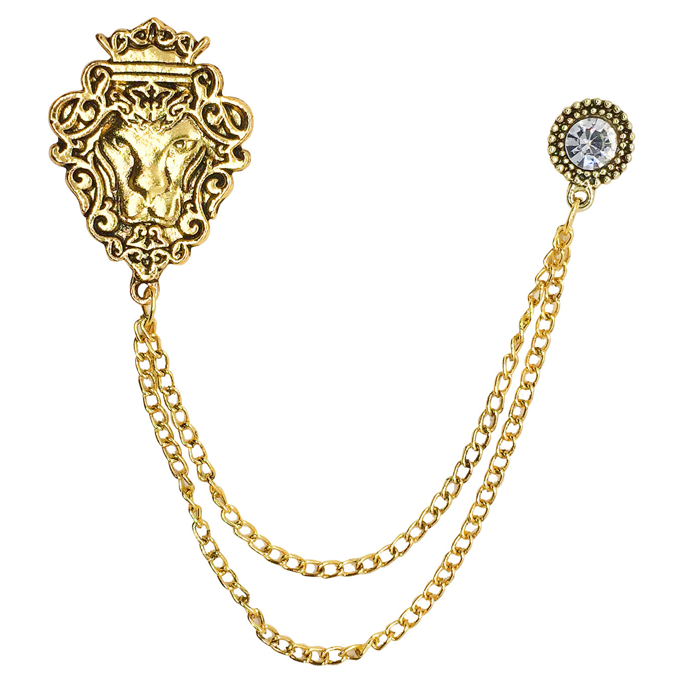 Double Chain Lion Brooch (Antique Golden)