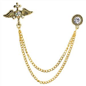 Double Chain Wing Brooch (Antique Golden)