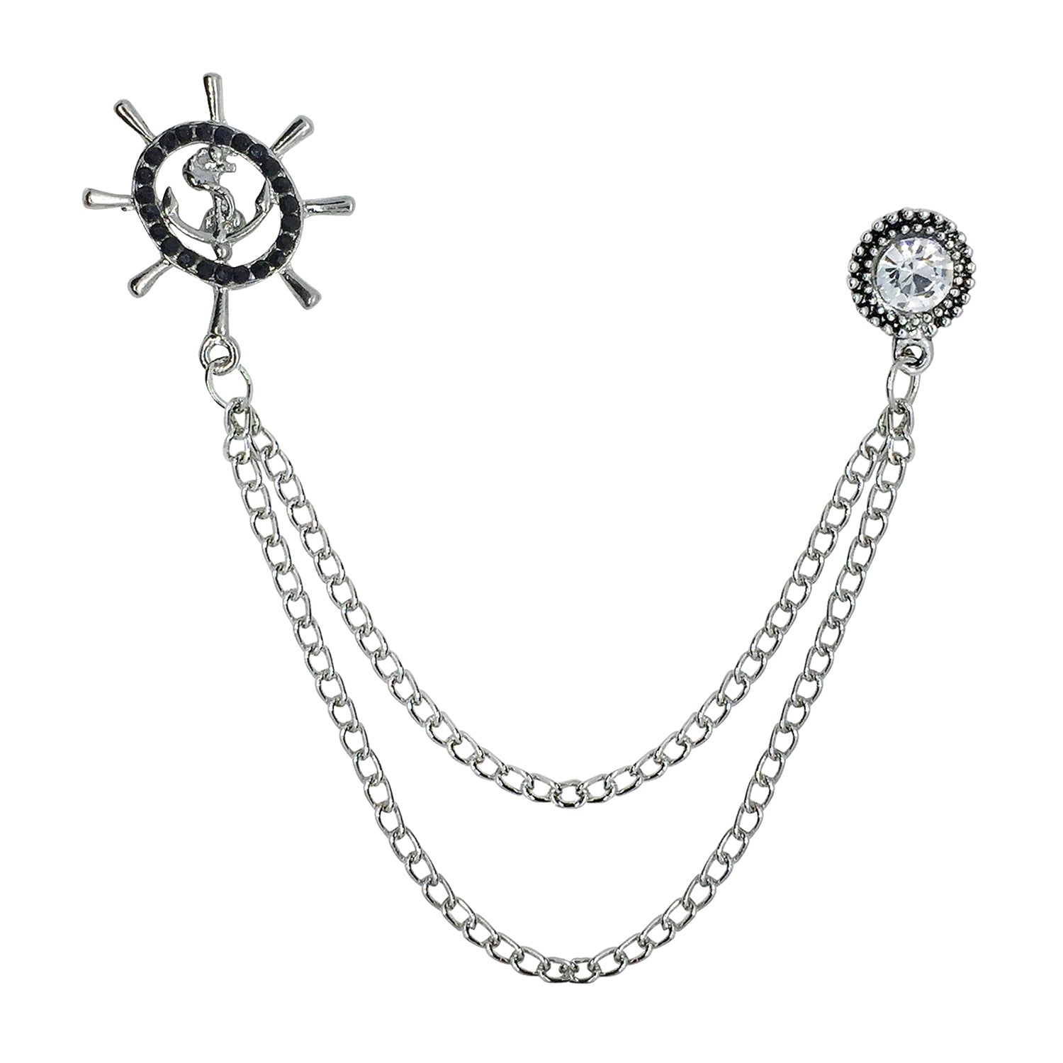 Double Chain Anchor Wheel Brooch (Antique Rhodium)