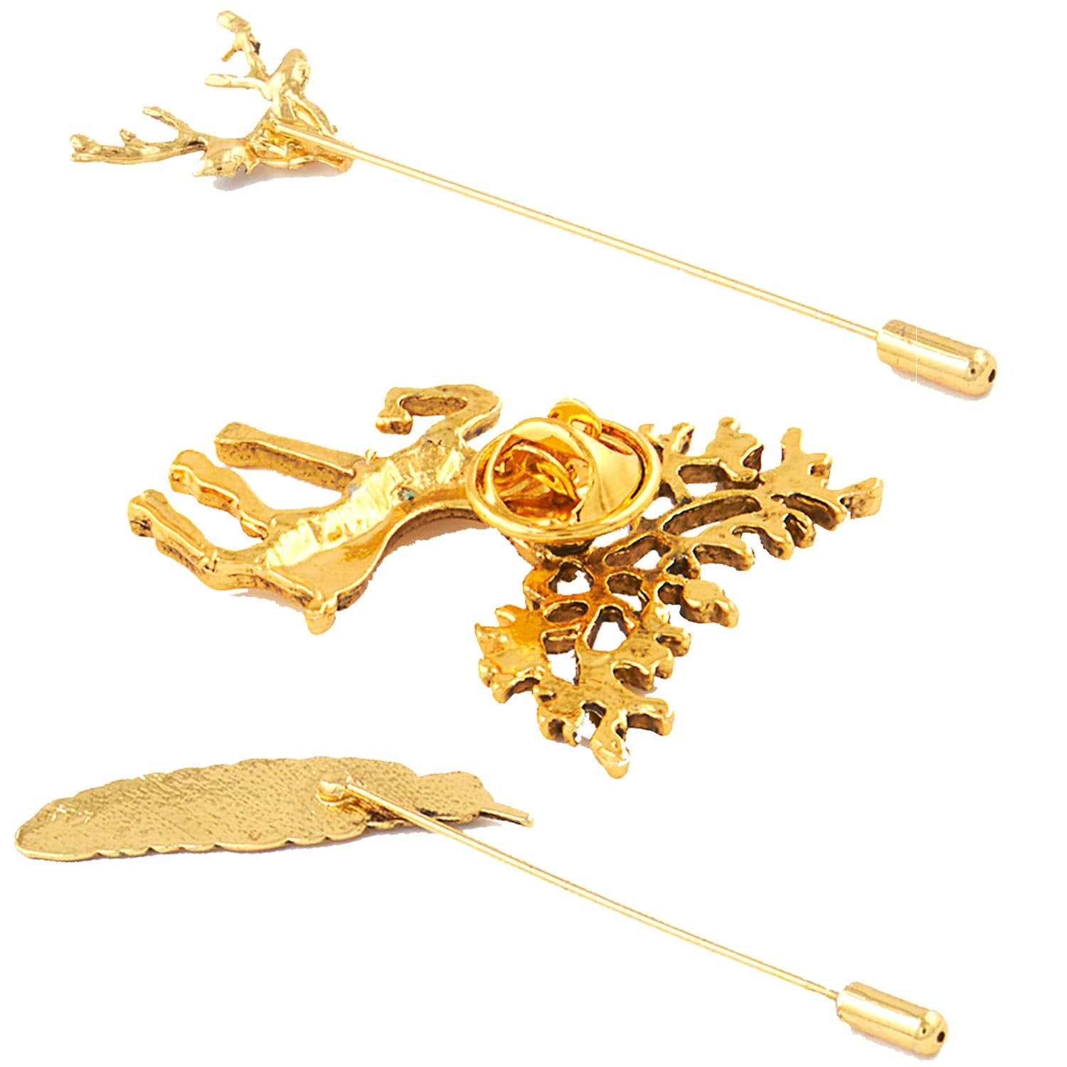 Combo of Antique Golden Lapel Pin Brooch/Shirt Stud