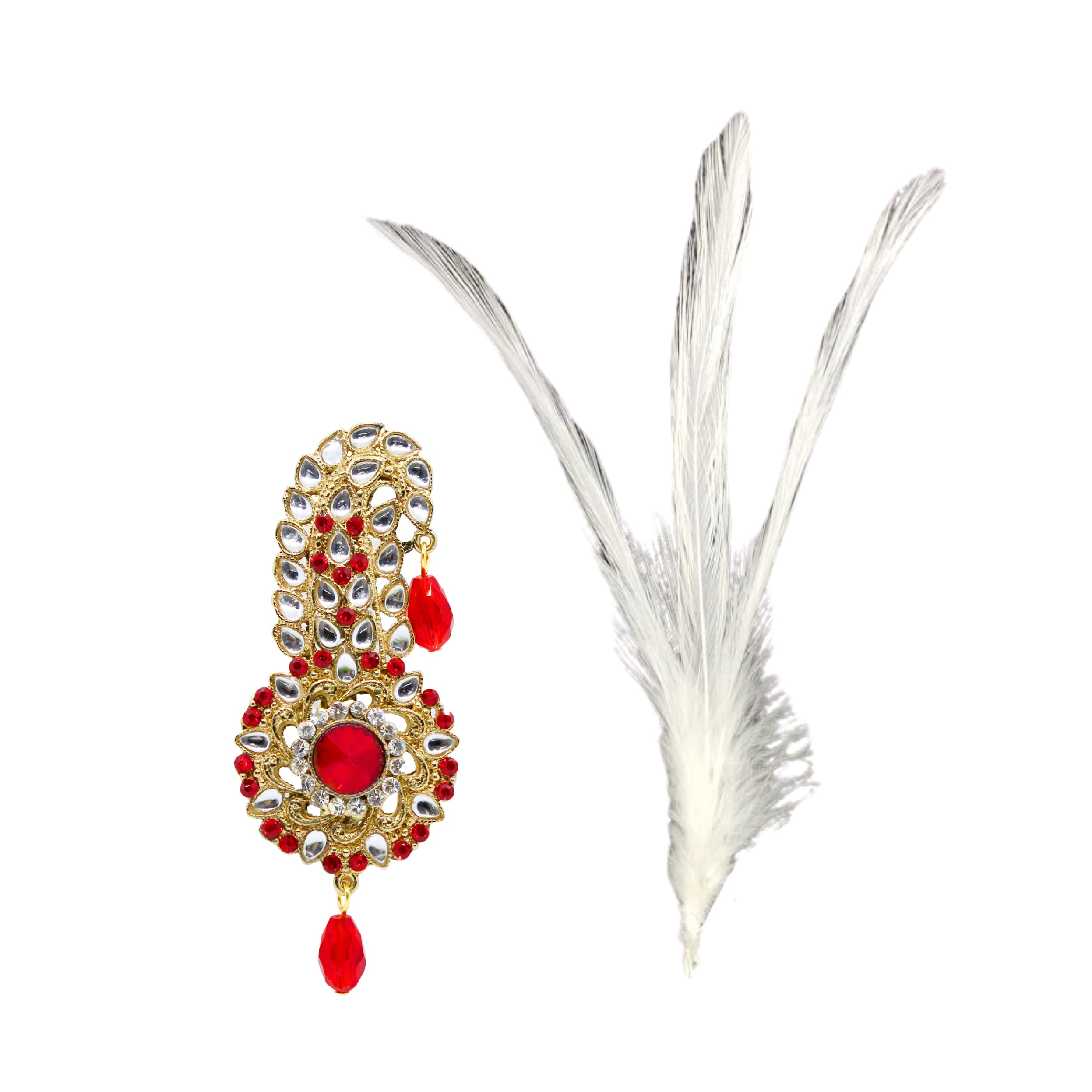 Floral Kundan Kilangi Brooch with Feather