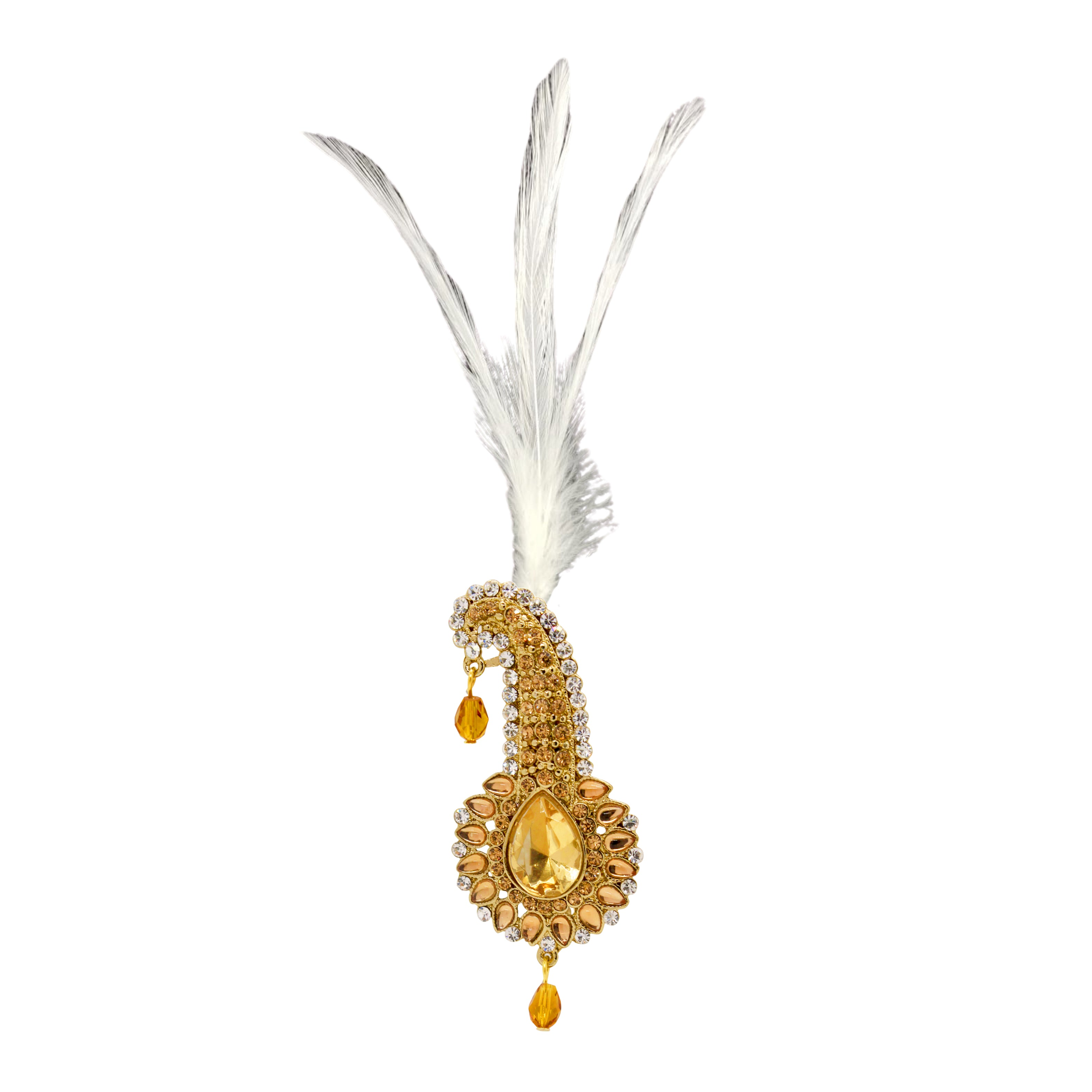 Dazzling Drop Kilangi Brooch with Feather