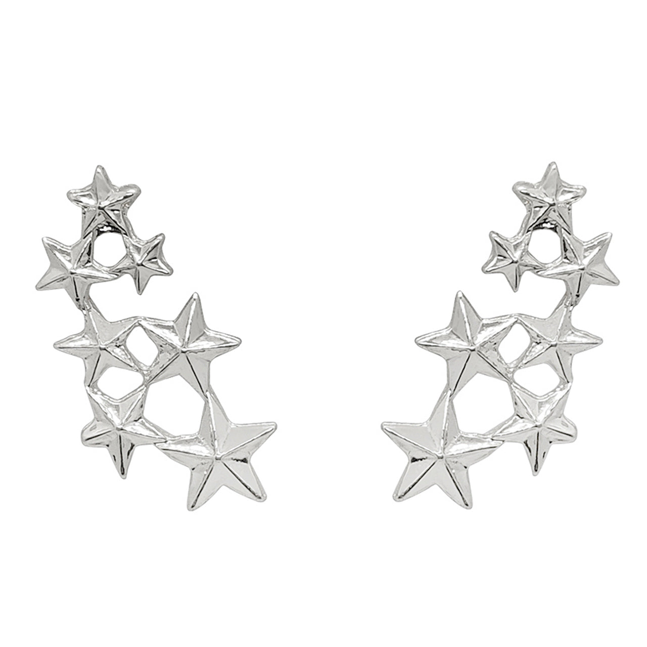 Seven Stars Collar Pins (Rhodium)