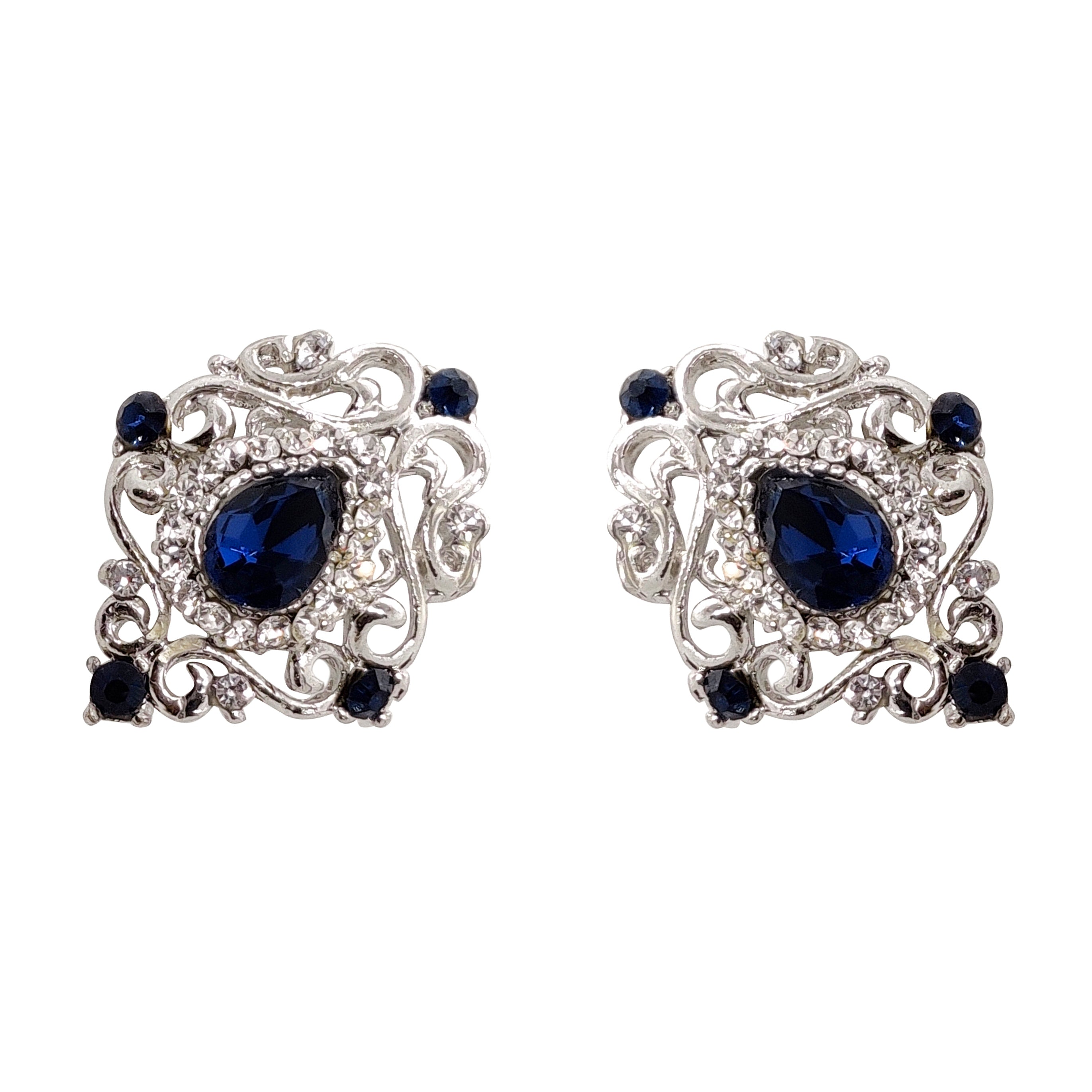 Dazzling Collar Pins with Rhinestones (Blue)