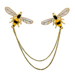 Load image into Gallery viewer, Double Chain Bumblebee Collar Pins
