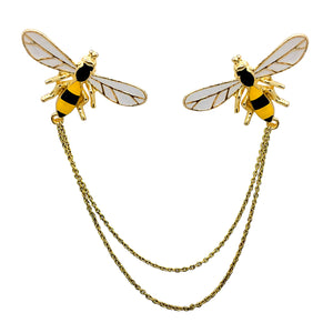 Double Chain Bumblebee Collar Pins
