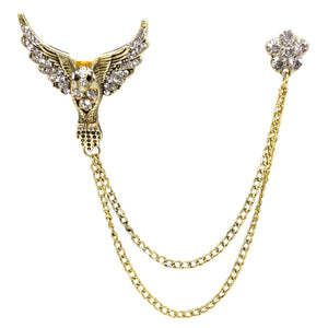 Double Chain Phoenix Brooch (Antique Golden)