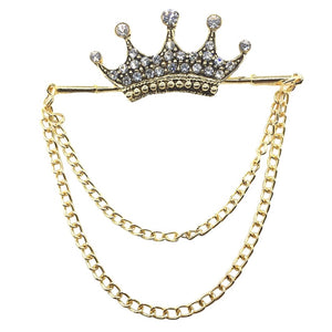 Double Chain Crown with Capsules Brooch