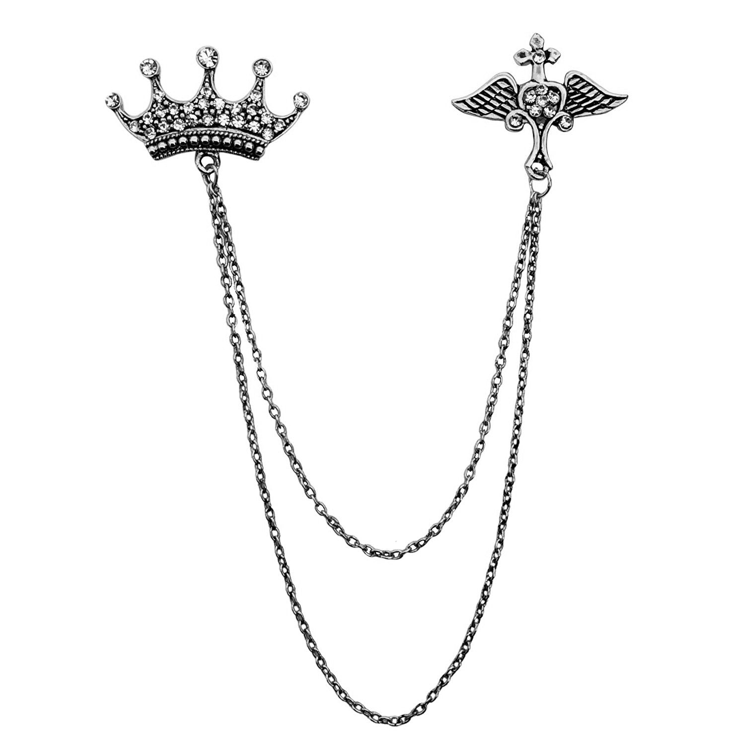 Double Chain Crown Wing Brooch (Antic Rhodium)