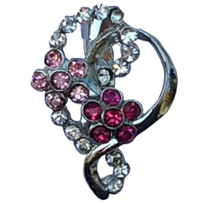 Double Flower Heart Brooch (Rhodium)