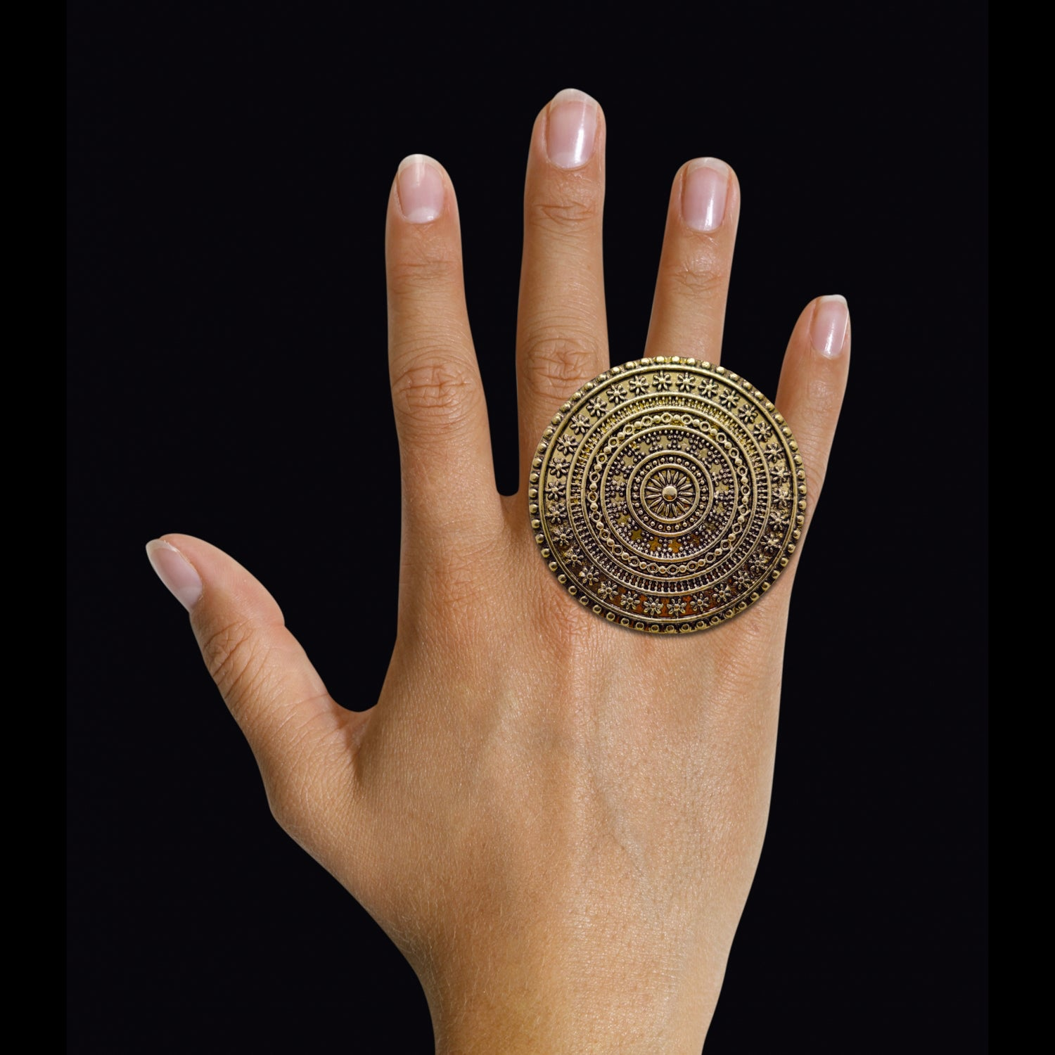Concentric Dainty Finger Ring (Antic Bronze) - 5.8cm Diameter