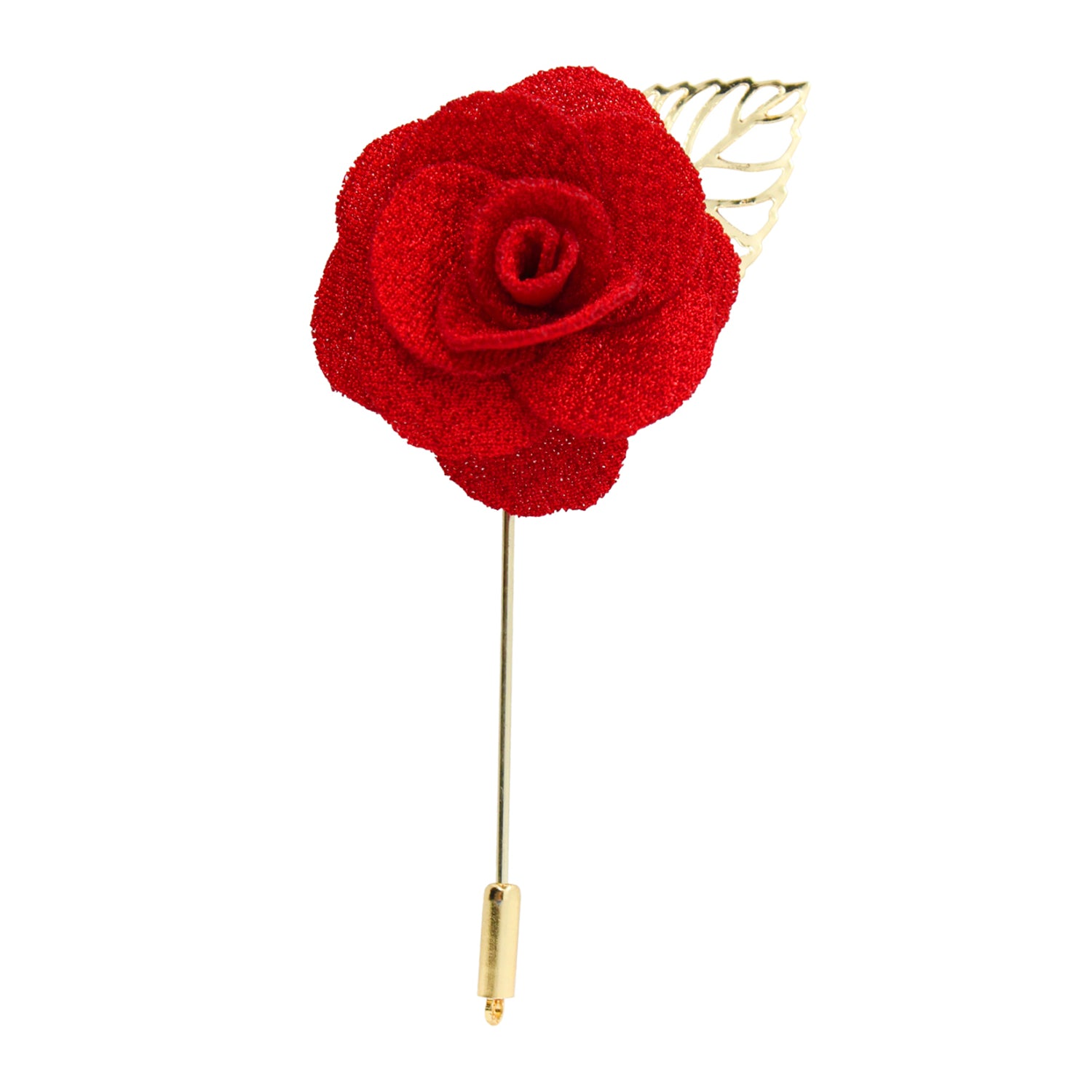 Blooming Rose with Metal Leaf Lapel Pin (Red)