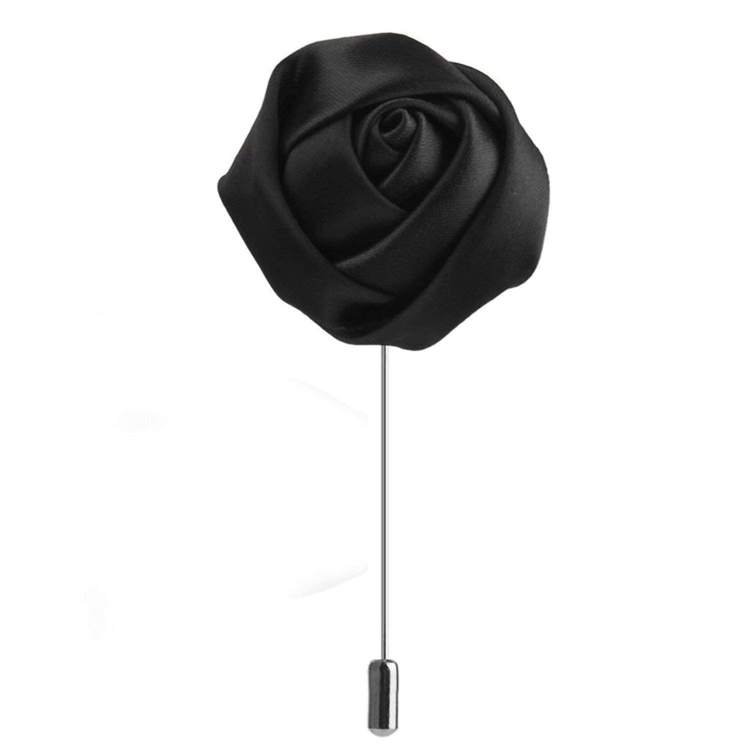 Rose Bud Flower Lapel Pin (Black)