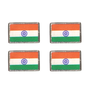Set of 4 Indian Flag Brooches (Rhodium)
