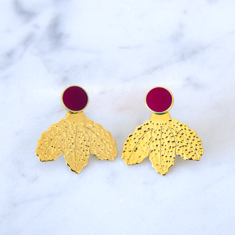 Boucles d'oreilles Jacket Leaf Ruby