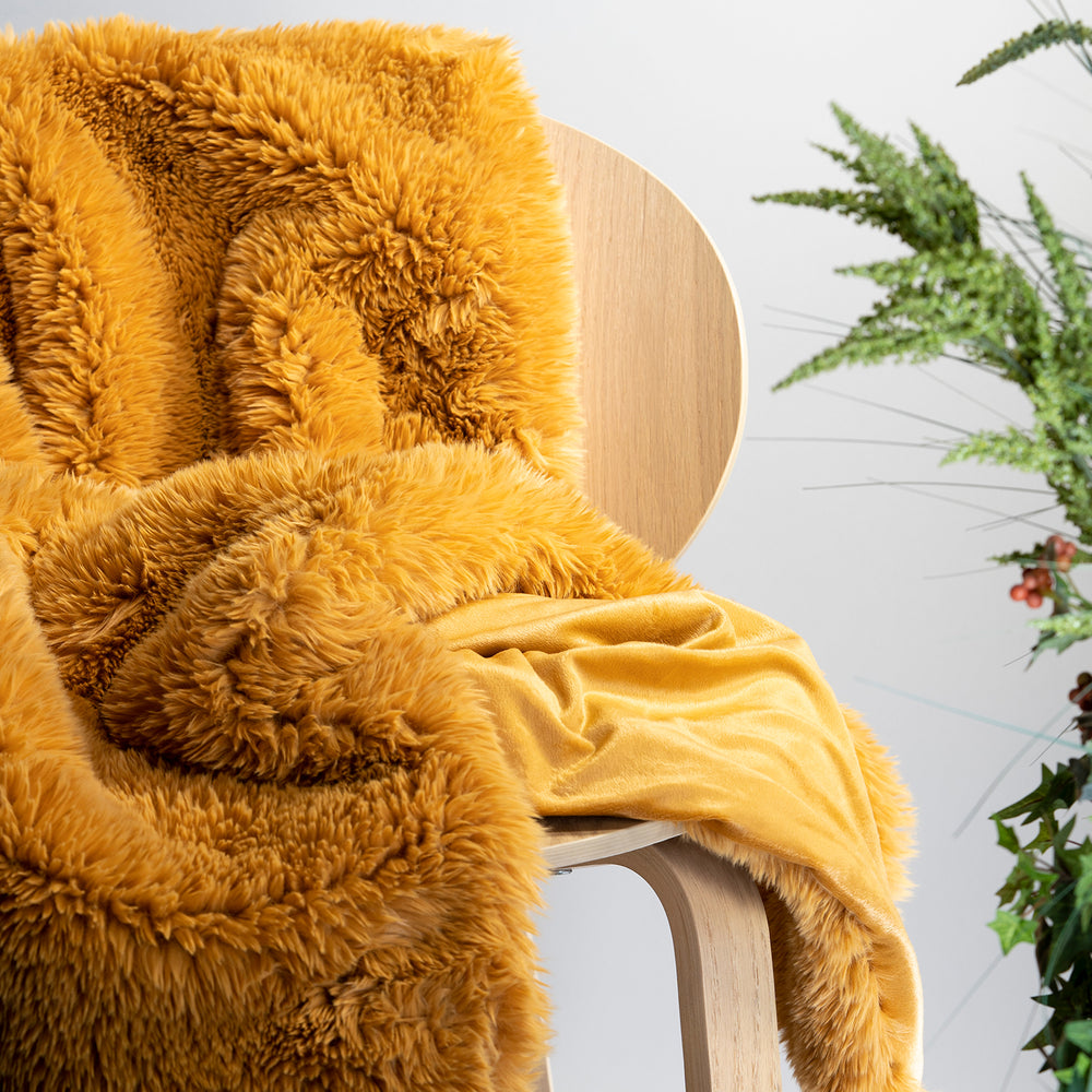 Yellow Plush Faux Fur Throw