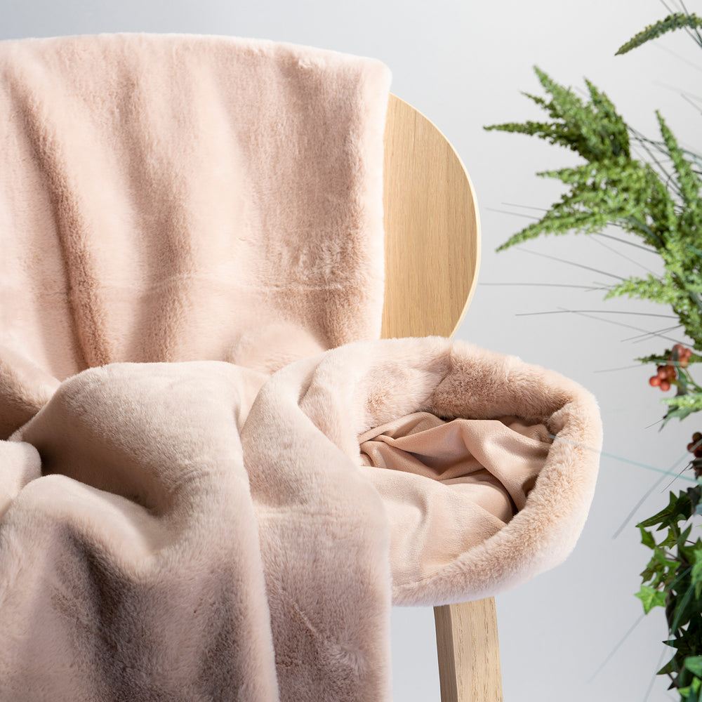 Pink Faux Rabbit Fur Throw